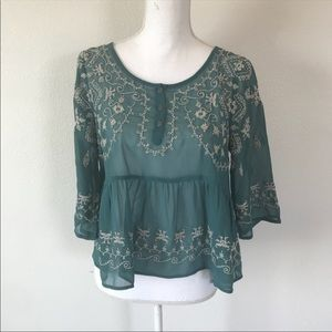 Free People embroidered top Size S teal  Sheer